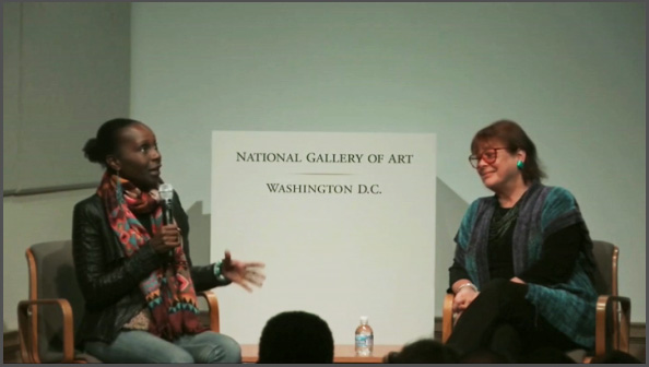 Aisha Karefa-Smart, James Baldwin's niece, with filmmaker Karen Thorsen at the National Gallery of Art presentation