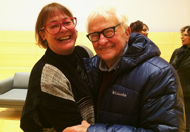 karen thorsen with albert maysles at the new school premiere of digitally restored james baldwin: the price of the ticket